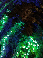 Flip-Up Mermaid Reversible Sequins (Royal Blue/Green/Black)Two Tone By Yard