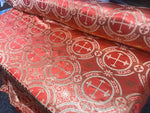 "Orange Metallic Jacquard Silver Cross Design Fabric 60"" Sold by the yard"