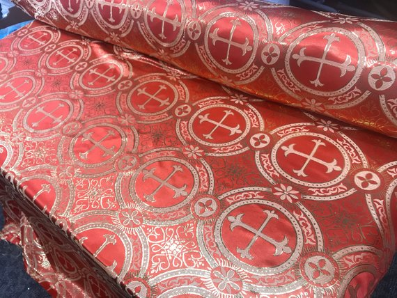 "Orange Metallic Jacquard Silver Cross Design Fabric 60"" Sold by the yard - Supreme Acoustics"
