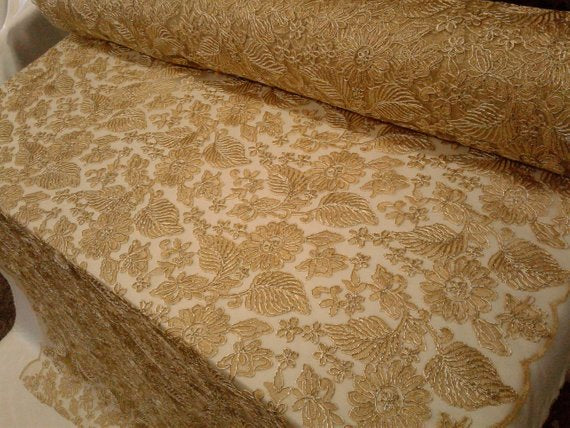 Floral New Lurex Paisley Champagne Elegant Bridal Lace Fabric Embroidery By Yard