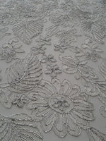 Floral New Lurex Paisley White Elegant Bridal Lace Fabric Embroidery By Yard