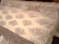 Dusty Rose Silver Bridal Wedding Floral Mesh Lace Fabric by Yard