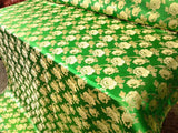 "Elegant Gold Floral Green Metallic Jacquard Brocade 60"" By the Yard"