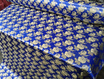 "Elegant Gold Floral Royal Blue Metallic Jacquard Brocade 60"" By the Yard"