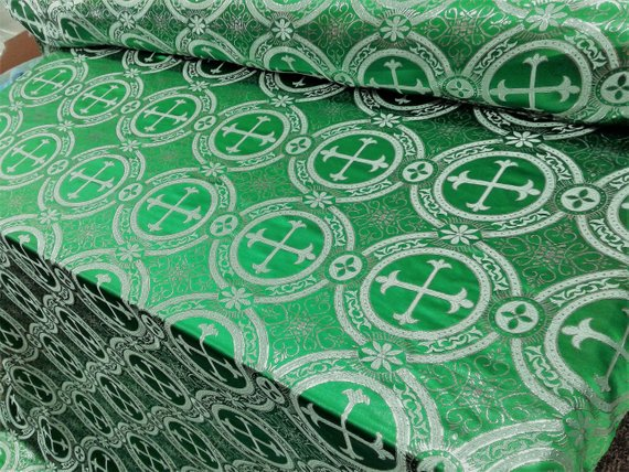 "Green Metallic Jacquard Silver Cross Design Fabric 60"" Sold by the yard"