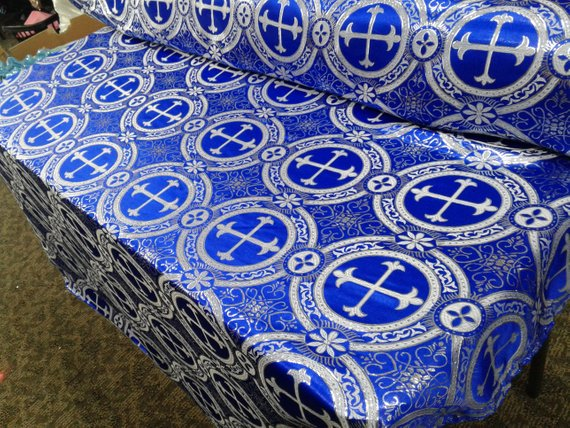 "Royal Blue Metallic Jacquard Silver Cross Design Fabric 54"" Sold by the yard - Supreme Acoustics"