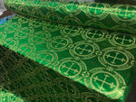 "Green Metallic Jacquard Silver Cross Design Fabric 60"" Sold by the yard - Supreme Acoustics"