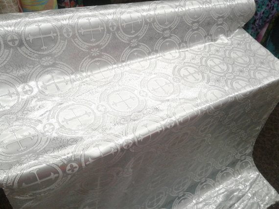 "Silver Metallic Jacquard Silver Cross Design Fabric 60"" Sold by the yard - Supreme Acoustics"