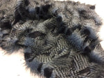 "Faux Fake Fur Feathered Bird Long Pile Fabric - Navy - 62"" Wide by the Yard Coat - Supreme Acoustics"