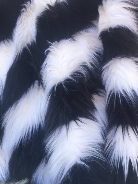 Faux Fake Fur 2 Two Tone Striped Long Pile Fabric - Black/White - by the Yard - Supreme Acoustics