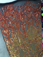 Mermaid Tail Sequins Designs Sold By The Yard Black/Orange 4 Way Stretch Fabric Sequins Fabric Embroidered Power Mesh Dress Top - Supreme Acoustics