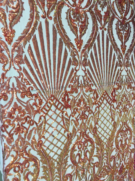 Mermaid Tail Sequins Designs Sold By The Yard Nude/Orange 4 Way Stretch Fabric Sequins Fabric Embroidered Power Mesh Dress Top - Supreme Acoustics