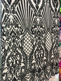 Mermaid Tail Sequins Designs Sold By The Yard Nude/Black 4 Way Stretch Fabric Sequins Fabric Embroidered Power Mesh Dress Top - Supreme Acoustics