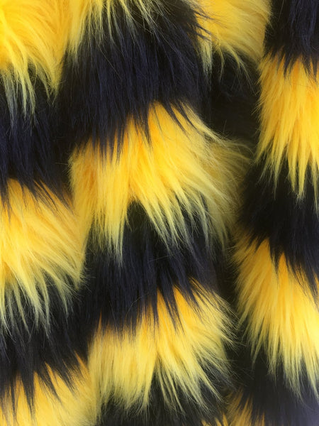 Faux Fake Fur 2 Two Tone Striped Long Pile Fabric / Black/Yellow / Sold By The Yard - Supreme Acoustics