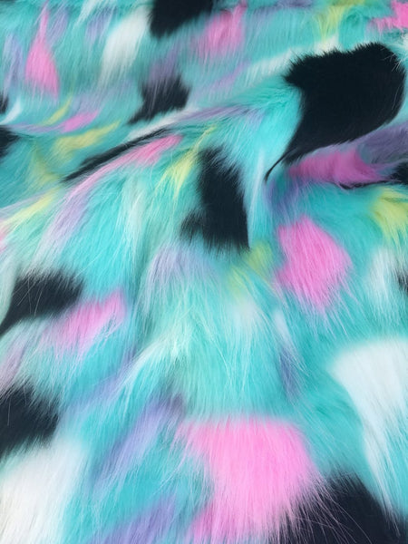 Tribal Multi Color Costume Coat Faux Fur Fabric / Rainbow Aqua Pink Black / Sold By The Yard - Supreme Acoustics