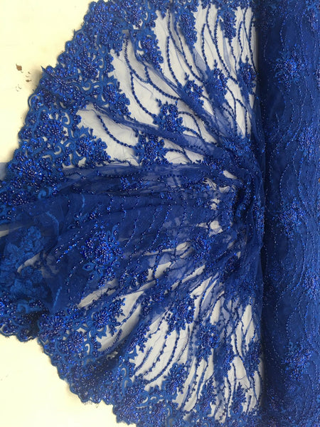 Royal Beaded Floral/Flower Mesh Lace Beaded Fabric Lace Fabric By The Yard Embroider Beaded On A Mesh For Bridal Veil.