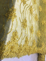 Yellow Beaded Floral/Flower Mesh Lace Beaded Fabric Lace Fabric By The Yard Embroider Beaded On A Mesh For Bridal Veil. - Supreme Acoustics