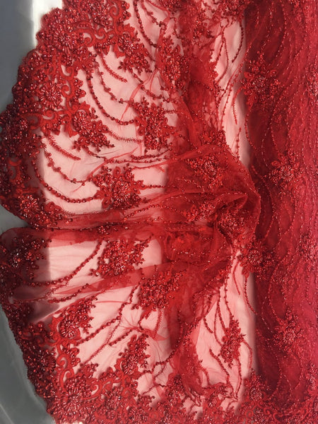 Red Beaded Floral/Flower Mesh Lace Beaded Fabric Lace Fabric By The Yard Embroider Beaded On A Mesh For Bridal Veil. - Supreme Acoustics