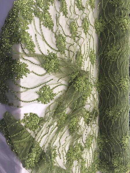 Avocado Green Beaded Floral/Flower Mesh Lace Beaded Fabric Lace Fabric By The Yard Embroider Beaded On A Mesh For Bridal Veil. - Supreme Acoustics