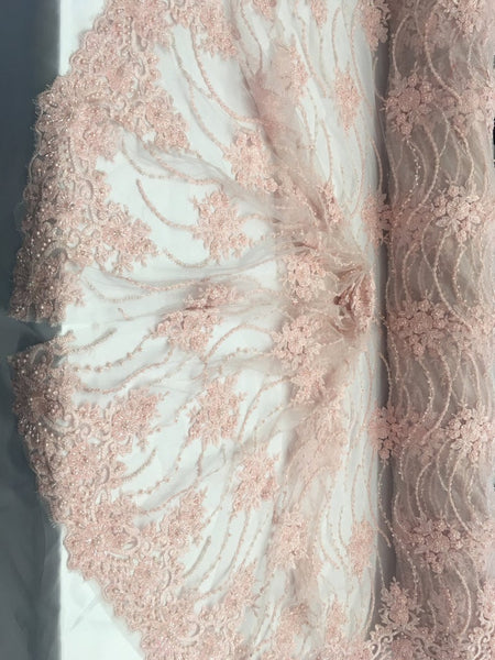 Pink Beaded Floral/Flower Mesh Lace Beaded Fabric Lace Fabric By The Yard Embroider Beaded On A Mesh For Bridal Veil. - Supreme Acoustics