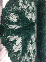 Hunter Green Beaded Floral/Flower Mesh Lace Beaded Fabric Lace Fabric By The Yard Embroider Beaded On A Mesh For Bridal Veil. - Supreme Acoustics