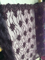 Purple Beaded Floral/Flower Mesh Lace Beaded Fabric Lace Fabric By The Yard Embroider Beaded On A Mesh For Bridal Veil. - Supreme Acoustics