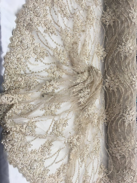 Champagne Beaded Floral/Flower Mesh Lace Beaded Fabric Lace Fabric By The Yard Embroider Beaded On A Mesh For Bridal Veil. - Supreme Acoustics
