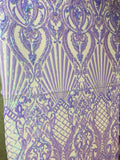 Mermaid Tail Sequins Designs Sold By The Yard Iridescent Lilac 4 Way Stretch Fabric Sequins Fabric Embroidered Power Mesh Dress Top - Supreme Acoustics