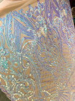 Mermaid Tail Sequins Designs Sold By The Yard Nude/Blue Iridescent 4 Way Stretch Fabric Sequins Fabric Embroidered Power Mesh Dress Top - Supreme Acoustics