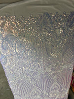 Mermaid Tail Sequins Designs Sold By The Yard White Iridescent 4 Way Stretch Fabric Sequins Fabric Embroidered Power Mesh Dress Top - Supreme Acoustics