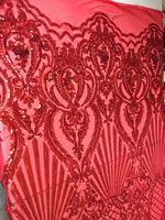 Mermaid Tail Sequins Designs Sold By The Yard Red 4 Way Stretch Fabric Sequins Fabric Embroidered Power Mesh Dress Top - Supreme Acoustics