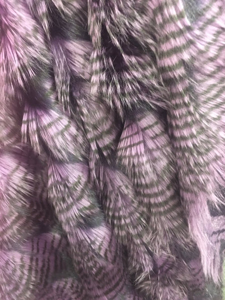 Faux Fake Fur Feathered Bird Long Pile Fabric / PURPLE / Sold By The Yard
