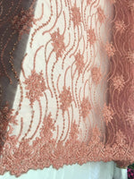 Coral/Peach Beaded Floral/Flower Mesh Lace Beaded Fabric Lace Fabric By The Yard Embroider Beaded On A Mesh For Bridal Veil. - Supreme Acoustics