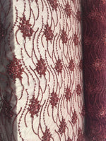 Burgundy Beaded Floral/Flower Mesh Lace Beaded Fabric Lace Fabric By The Yard Embroider Beaded On A Mesh For Bridal Veil. - Supreme Acoustics