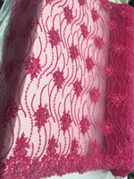 Fuchsia Beaded Floral/Flower Mesh Lace Beaded Fabric Lace Fabric By The Yard Embroider Beaded On A Mesh For Bridal Veil. - Supreme Acoustics