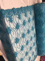 Turquoise Beaded Floral/Flower Mesh Lace Beaded Fabric Lace Fabric By The Yard Embroider Beaded On A Mesh For Bridal Veil. - Supreme Acoustics