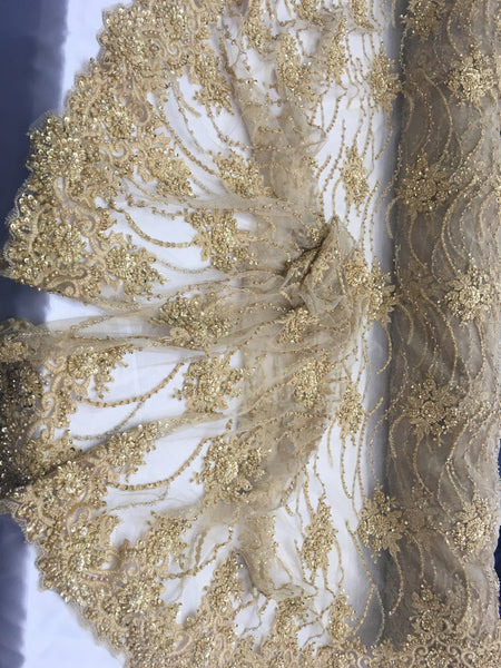 Gold Beaded Floral/Flower Mesh Lace Beaded Fabric Lace Fabric By The Yard Embroider Beaded On A Mesh For Bridal Veil. - Supreme Acoustics