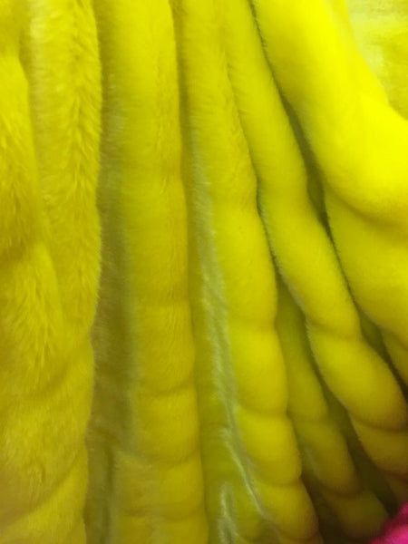 Neon Yellow Chinchilla Mink Rabbit Furs Faux Furs Soft and Luxury Supplies Fabrics Decors By the Yard - Supreme Acoustics