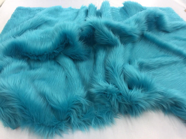 Supreme Luxurious Faux Fur Fabric Mongolian Design Turquoise Sold By Yard