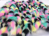Supreme Faux Fur Fabric Multicolor Pastel Sold By Yard.