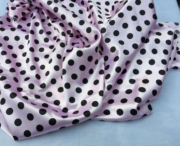 Pink/black 1/2inch Polka Dot Soft/silky Charmeuse Satin Fabric. (20 Yards)