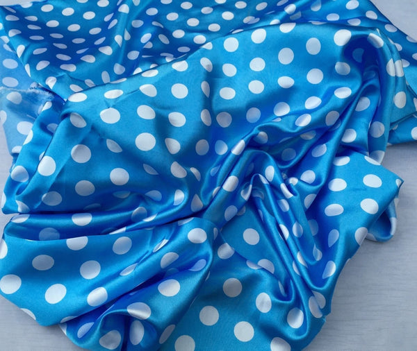 Dresses tablecloths night gowns Skirts prom dresses wedding Turquoise/white 1/2inch Polka Dot Silky/soft Charmeuse Satin Fabric. 20 Yards.