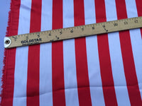 White/red 1inch Stripe Silky/soft Charmeuse Satin Fabric. (20 Yards)