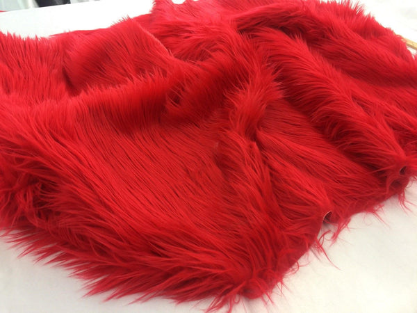 Luxurious Faux Fur Fabric Mongolian Design Red Sold By Yard