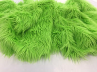 Luxurious Faux Fur Fabric Mongolian Design Lime Sold By Yard