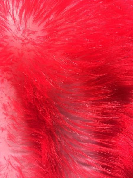 Animal Design Red Ivory Faux Fur Fabric. Sold By The Yard