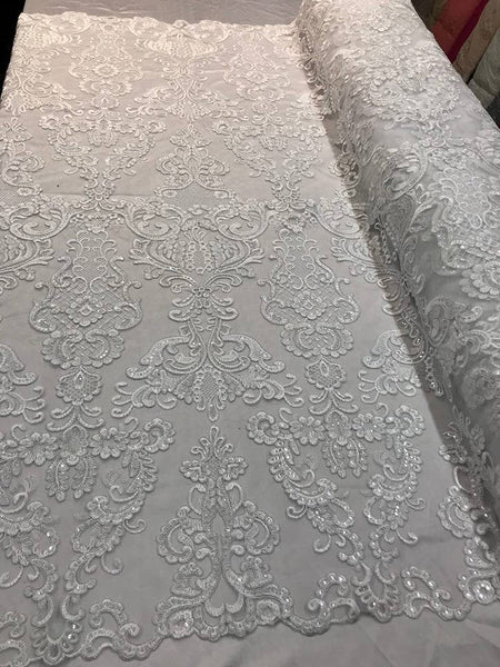 Lace Fabric - Embroidered Sequin Mesh White Bridal Wedding Dress By The Yard