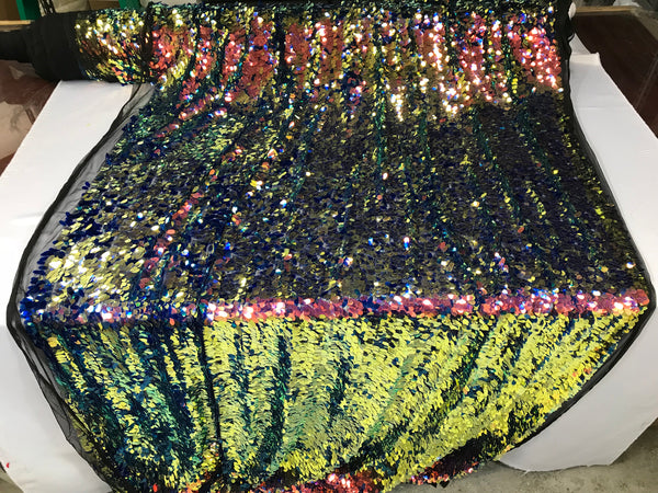 Sequins Fabric - Multi-Color Teardrops Oval 58 Inch W Mesh Dress Top Sold By The Yard