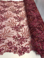 Embroidered Beaded Fabric - Burgundy Multi-Color Floral Bridal Lace Flower Mesh Dress For Wedding Decoration By The Yard