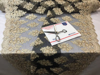 Gold-Black Lace Fabric - Corded Flowers Embroidery With Sequins For Wedding Dress Bridal Veil By The Yard